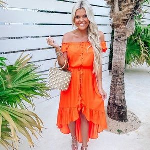 Orange High-Low Dress